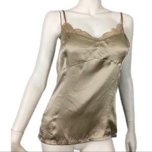 Ann Taylor L Silk Tan Lace Trim Camisole Cami